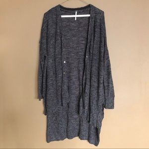 FREE PEOPLE Linen Blend Gray Duster Cardigan